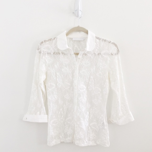 0d86ee1a Anne Fontaine Tops - Anne Fontaine Paris White Lace Butterfly Sheer Top